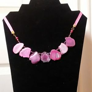Pink Agate Necklace w/Quartz Crystal Beads NWT
